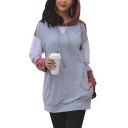 New Stylish Drawstring Hood Color Block Long Sleeve Long Hoodie With Pocket