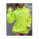 Popular Reflect Light Letter MORE AMOUR Print Long Sleeve Green Pocket Pullover Drawstring Loose Long Hoodie