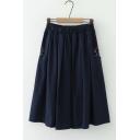 Girls Basic Elastic Waist Cute Bear Print Midi A-line Skirt