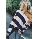 Hot Women's Stripe Print One Shoulder Long Sleeve Split Hem Pullover Sweatshirt