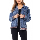 Loose Ribbed Cuff Long Sleeve Shredded Holes Denim Short Jacket Coat