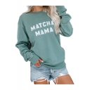 MATCHA MAMA Letter Round Neck Long Sleeve Green Relaxed Sweatshirt