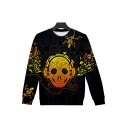 Couple 3D Skull with Earphone Printed Long Sleeve Round Neck Black Casual Pullover Sweatshirt