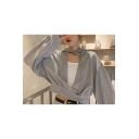 Hot Fashion Cutout Front Plain Long Sleeves Pullover Drawstring Crop Hoodie
