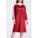 Contrast Stripes Long Sleeve Single Breasted Stand Collar Red Metallic Windproof Long Coat