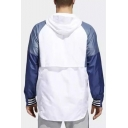 New Trendy Colorblock Long SleeveZip Up Casual Hooded Trench Jacket For Men