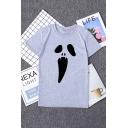 Summer Hot Stylish Halloween Skull Print Short Sleeve Round Neck Short T-Shirt