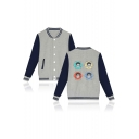 Unique Figure Printed Rib Stand Collar Long Sleeve Single Breasted Baseball Jacket