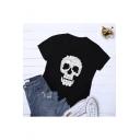 Girls New Trendy Skull Printed Round Neck Short Sleeve Cotton Tee