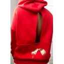 Cut Out Back Angel Letter Wing Printed Long Sleeve Hoodie With Pocket