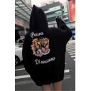 Cool Black Tiger Letter Printed Long Sleeve Loose Long Pullover Hoodie