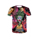 Summer New Stylish 3D Clown Comic Print Short Sleeve Round Neck Unisex Loose T-Shirt