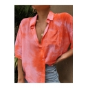 Hot Popular Tie-dye Print Short Sleeve Lapel Collar Button Down Leisure Shirt