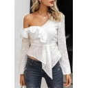 Women's Basic Long Sleeve Oblique Shoulder Plain Hollow Out Asymmetric Hem White Shirt