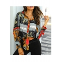 Women's Summer Trendy Floral Printed Tied Up V-Neck Long Sleeve Cropped Blouse