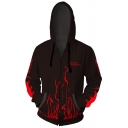 Fate Trendy 3D Fire Pattern Long Sleeve Zip Up Casual Black Hoodie