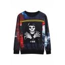 Mens New Fashion Letter J-XQS Skull Printed Long Sleeve Round Neck Black Pullover Sweatshirts