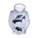 Hot Popular Action Movie Cool Car 3D Printed Long Sleeve Loose Fit Grey Pullover Hoodie