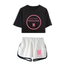 Summer's BTS Idol PERSONA Letters Print Short Sleeve Crop T-Shirt with Dolphin Shorts Co-ords