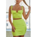 Womens Pub Style Fluorescent Color Hardware Sleeveless Strap Camisole Tube Skirts Co-ords