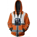 Star Wars Comic Cosplay Costume Camera Print Orange Zip Up Hoodie