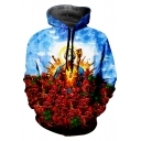 Cool Unique 3D Game Rose Floral Buddha Printed Long Sleeve Loose Sport Blue Hoodie
