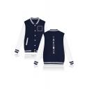 Hot Popular Letter Print Rib Collar Long Sleeve Color Block Single Breasted Baseball Jacket