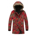Men's Hot Stylish Tribal Print Single Breasted Long Sleeve Hood Concealed Longline Red Padded Coat