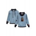 Men's Letter BLIND Figure Print Ripped Buttons Down Long Sleeve Hooded Denim Jacket Coat