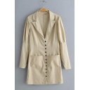 Womens Lapel Collar Long Sleeve Single Button Down Pockets Mini Blazer Dress