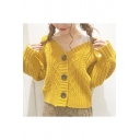 Ladies Vigorous Yellow Plain V Neck Button Batwing Sleeve Cardigan