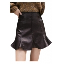 Plain Ruffled Hem Zip-Back Black PU Leather Mini A-line Skirt