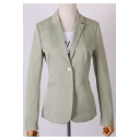 Pure Color Notched Lapel Single Button Light Green Fit Blazer with Pockets