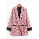 Leisure Geometric Printed Lapel Collar Tie-Waist Raw Edges Pink Blazer Coat with Pockets