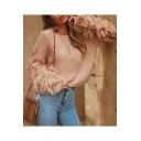 Womens Fashion Plain Round Neck Tassel Hem Drop Sleeve Ribbed Knit Sweater