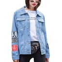 GDRAGON Letter Cartoon Pattern Printed Chest Pockets Casual Denim Jean Jacket Coat