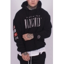 Mens New Stylish Flag Letter Printed Long Sleeve Black Casual Loose Sports Pullover Hoodie