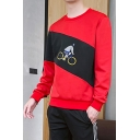 Mens New Fashion Colorblock Bicycle Figure Pattern Round Neck Long Sleeve Casual Sweatshirts