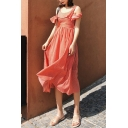 Women's Summer Beach Off the Shoulder Sleeveless Ruffles Pinstripe Backless A-Line Maxi Dress