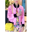Vivacious Contrast Collar Colorblocked Long Sleeve Pink Baseball Jacket
