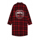 Fashionable BTS Letter Printed Red Plaid Check Pattern Lapel Collar Longline Shirt Coat