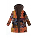 Winter Hot Sale Tribal Print Linen Long Sleeve Hooded Padded Zipper Overcoat