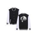 New Fashion Letter Figure Print Colorblock Rib Stand Collar Long Sleeve Single Breasted Baseball Jacket