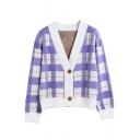Ladies Plaid Print V-Neck Drop Sleeve Boxy Single Button Cardigan Coat