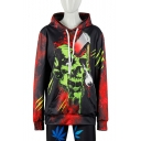 New Stylish Ax Skull 3D Printed Long Sleeve Loose Fit Unisex Red Pullover Hoodie