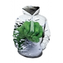 Hot Popular Green Fist Break the Wall 3D Printed Long Sleeve Unisex White Loose Hoodie