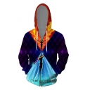Hot Fashion Comic Figure Fire 3D Printed Colorblock Long Sleeve Drawstring Zip Up Purple Hoodie