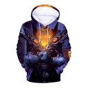 Hot Fashion Comic Figure Pumpkin 3D Printed Long Sleeve Purple Loose Pullover Hoodie