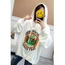 Simple NEW Letter Circle Print Cut Out Long Sleeve Loose Drawstring Hoodie