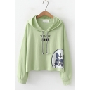 LOGO 1998 Letter Cat Pattern Long Sleeve Loose Drawstring Loose Hoodie